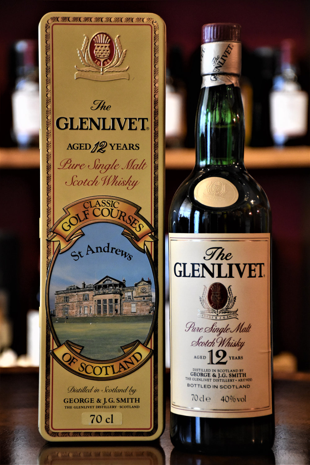 Glenlivet 12 y.o. Golf Courses of Scotland, St. Andrews - Bottling 1980iger, 40% Alc.Vol., Distillery Original Bottling
