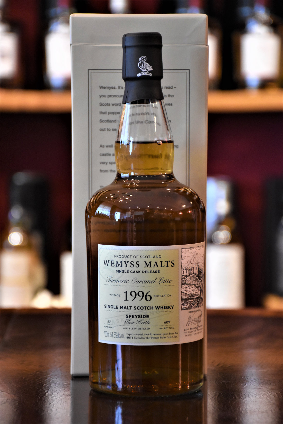 "Glen Keith 1996, 23 y.o., ""Turmeric Caramell Latte"",  54,6% Alc.Vol., Wemyss Malts"