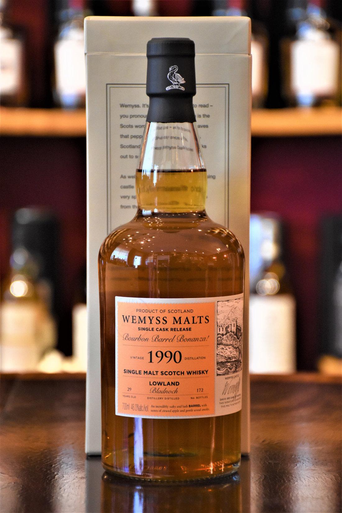 """Bladnoch 1990, 29 y.o., """"Bourbon Barrel Bonanza!"""", 46% Alc.Vol., Wemyss Malts"""