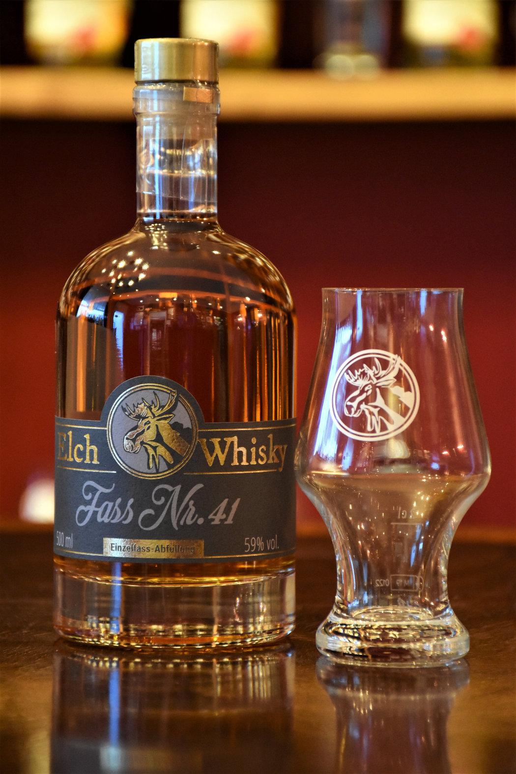 Elch Whisky, Fass Nr. 41, Madeira Finish, 59 %, 0,5l/Fl., mit Elch Whisky Glas