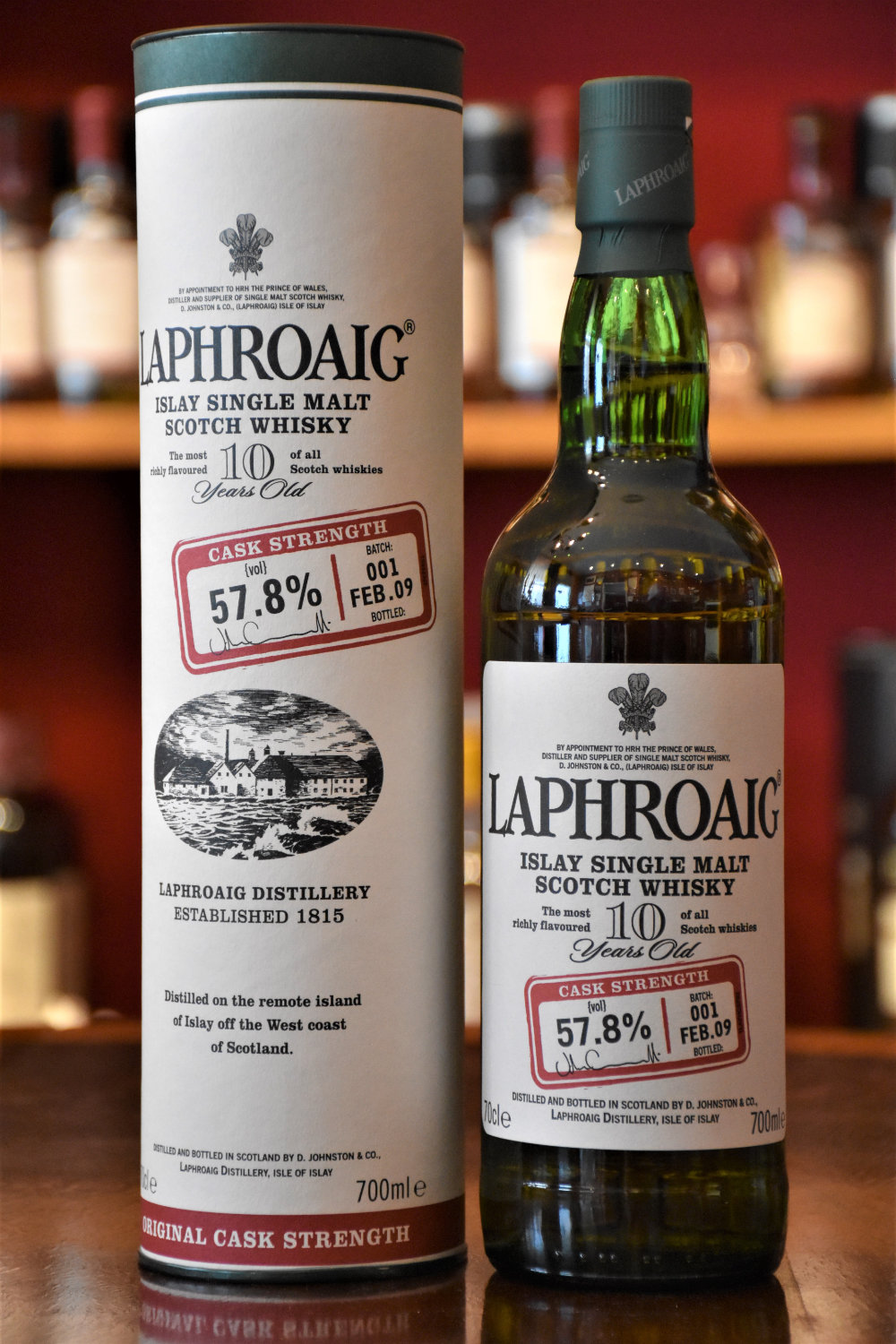 Laphroaig 10 yo Cask Strength Batch No. 001, Febr. 2009, 57,8% Alc.Vol., Distillery Original Bottling