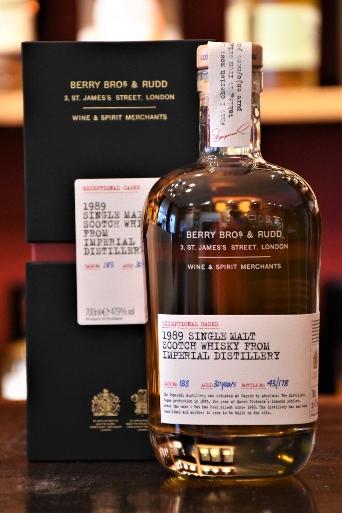 Imperial 1989, 30 y.o. - Cask No. 183, Exceptional Cask, 47,9 Alc.Vol., Berry Bros.&Rudd