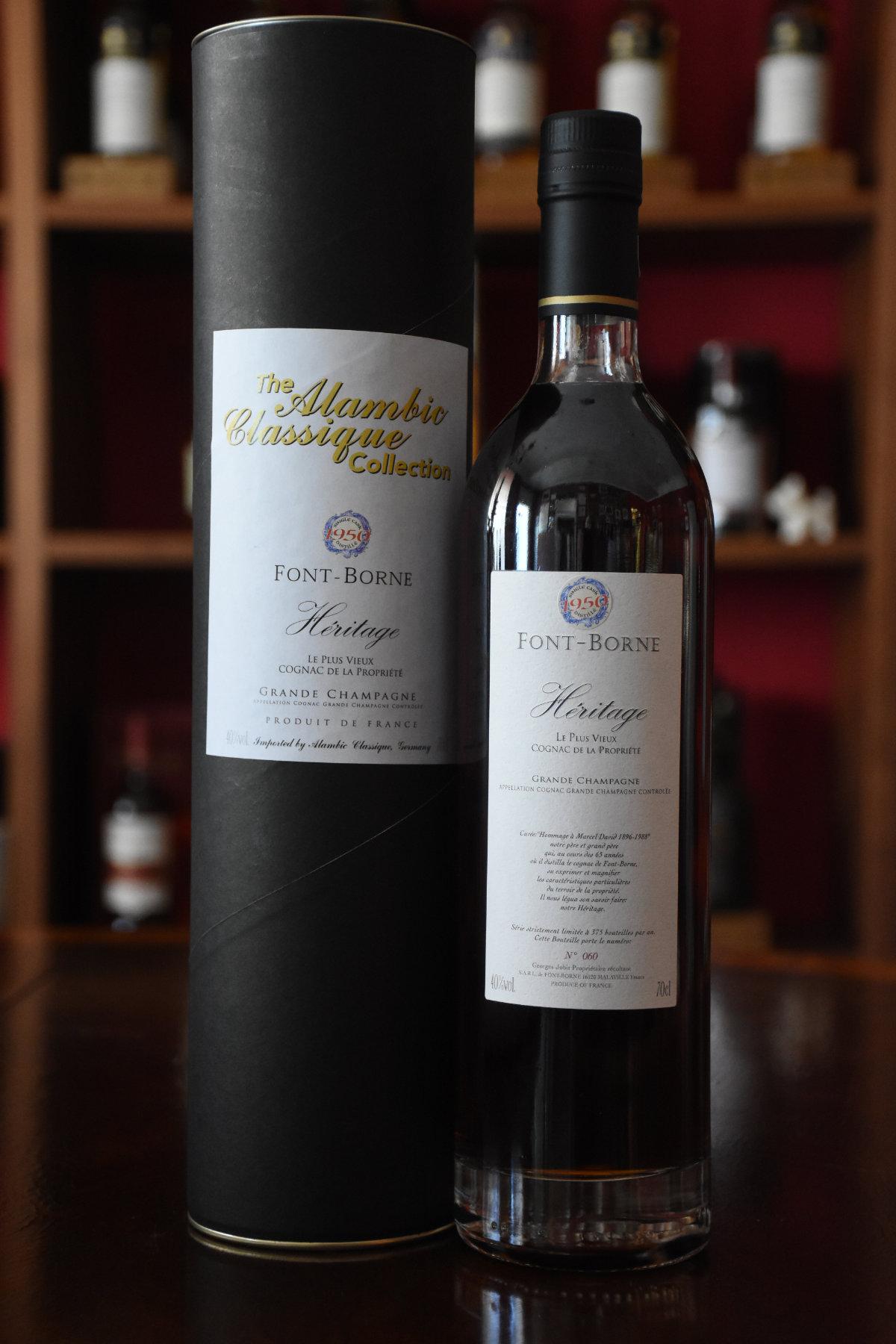 Font-Borne - Cognac, Font Borne Heritage 1950 Cognac Grande Champagne, Dest. 1950/Abgef. 2016, 65 Jahre im Fass gereift, 40% Alc.Vol.,  Alambic