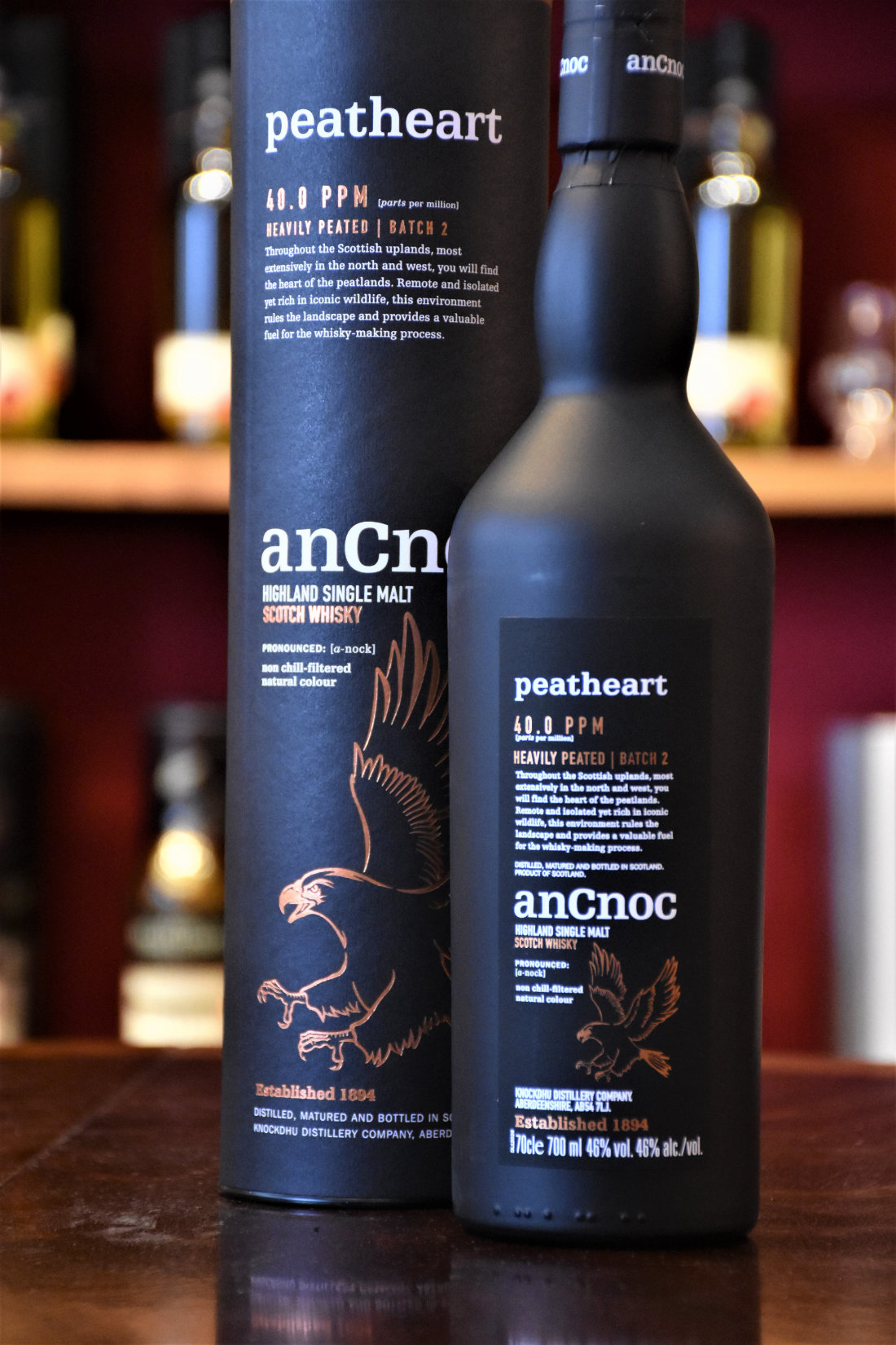 AnCnoc Peathart, Batch 2, Heavily Peated, 46% Alc.Vol.,Distillery Original Bottling, Knockdhu