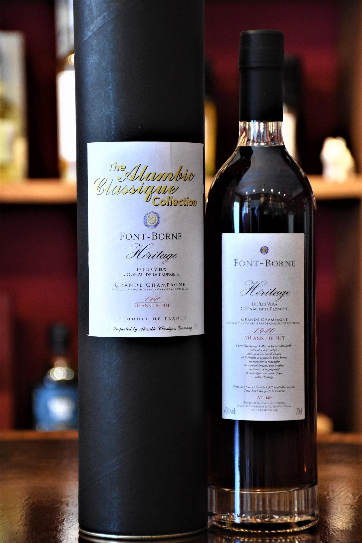 Font- Borne Heritage 1940 Cognac Grande Champagne,  70 Jahr im Fass gereift, Dest. 1940/Abgef. 2016, 40% Alc.Vol., Alambic